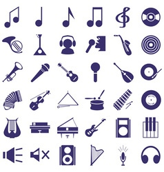 Musical instruments and sound icons on white vector
