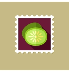 Kiwi flat stamp with long shadow vector image