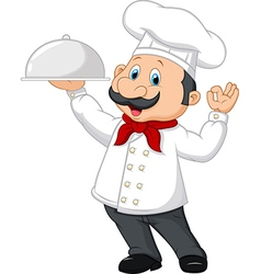 Cartoon happy chef holding a silver platter vector
