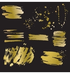 Set of golden blots and splashes vector