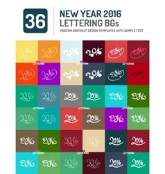 New year 2016 hand drawn lettering set vector