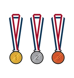 Gold silver bronze medals with ribbons flat design vector