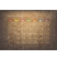 antique calendar of November vector image