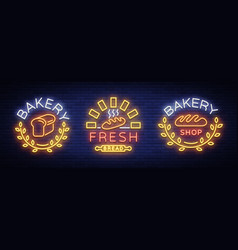bakery set logo fresh bread loaf vector image