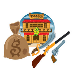 bank wild west game background and scenery vector image vector image