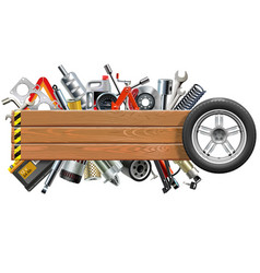 board with wheel and car spares vector image vector image