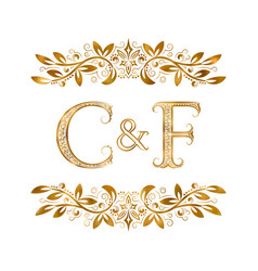 C and f vintage initials logo symbol letters c vector