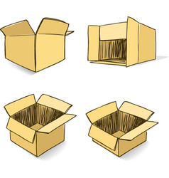 Cardboard hand-drawn set vector image