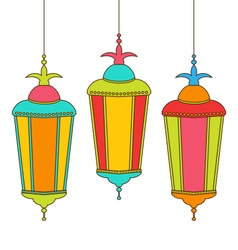 Colorful arabic lamps for ramadan kareem vector