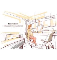 Couple having breakfast woman show tablet vector