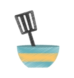drawing blue and yellow bowl spatula utensil vector image