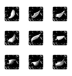 Feather wings icons set grunge style vector