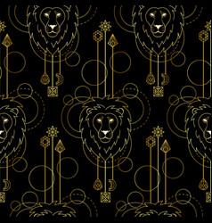 Geometric lion seamless pattern vector