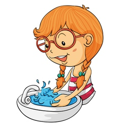 Girl washing hands vector