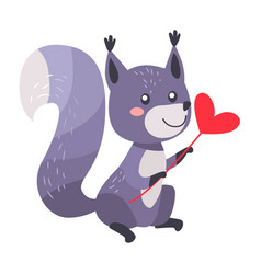 Grey squirrel with heart on stick isolated white vector