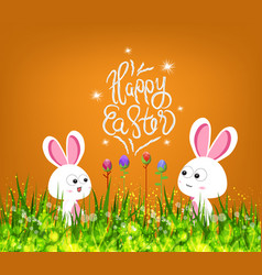 happy easter eggs and bunny vector image vector image