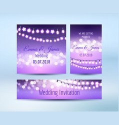 Lilac lights bokeh and garlands cards vector