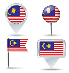 Map pins with flag of malaysia vector