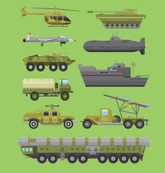 Military technic transport vehicle armor flat vector