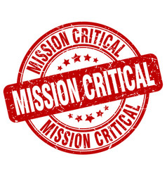 Mission critical red grunge stamp vector