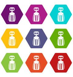 modern corkscrew icon set color hexahedron vector image vector image