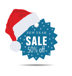 new year sale with christmas hat vector image