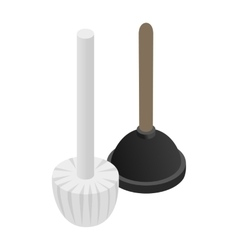 Plunger isometric 3d icon vector