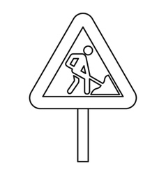Road works warning traffic sign icon outline style vector image vector image