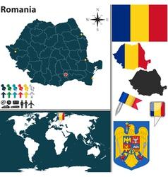 Romania map world vector image vector image
