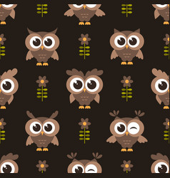 seamless pattern with brown cute owls and flowers vector image vector image
