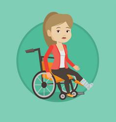 woman with broken leg sitting in wheelchair vector image
