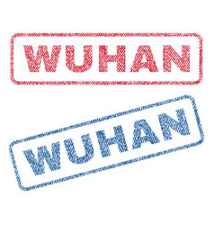 Wuhan textile stamps vector