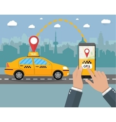 Yellow taxi cab Hands smartphone application vector image