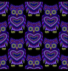 seamless pattern with bright owls vector image