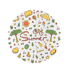 A summer holiday in bright colors doodle vector