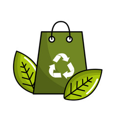 green bag with recycling symbol and leaves vector image