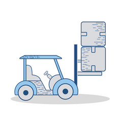 Truck to move the boxes package delivery vector