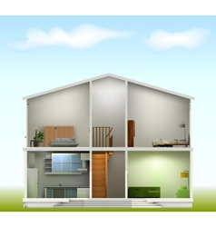 House cut with interiors on against the sky vector
