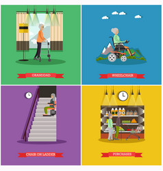 Set of aged people posters in flat style vector