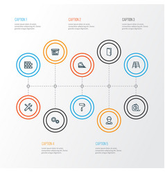 Building outline icons set collection of vector