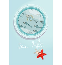 School of fish swimming past a ships porthole vector