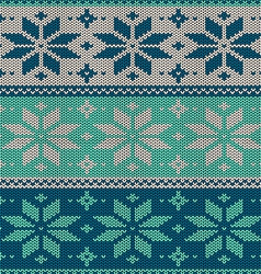 Seamless knitted pattern with snowflakes vector
