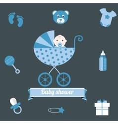 Baby shower icons set boy blue vector