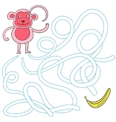 Labyrinth maze find a way monkey vector