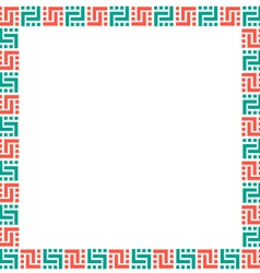 Ethnic geometric frame on white vector image