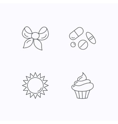 Medical pills sun and bow-knot icons vector