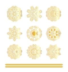 Oriental gold pattern set vector