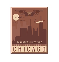 old style vintage retro poster with Chicago vector image