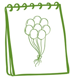 A green notebook with balloons at the cover page vector image