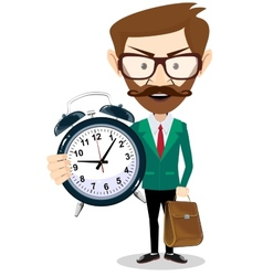 Adult teacher with an alarm clock vector